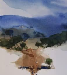 Prashant Prabhu Paintings | Watercolor Painting - Beyond All Rise And Fall 22x15 by artist Prashant Prabhu | ArtZolo.com