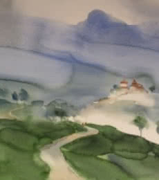 Landscape Watercolor Art Painting title Many Paths To Him 2 22x29 by artist Prashant Prabhu