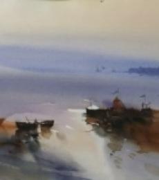 Landscape Watercolor Art Painting title 'Mooring In The Mystique 22x30' by artist Prashant Prabhu