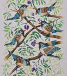 Animals Postercolor Art Painting title 'Birds Painting 49' by artist Santosh Patil