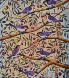 Animals Postercolor Art Painting title 'Birds Painting 50' by artist Santosh Patil