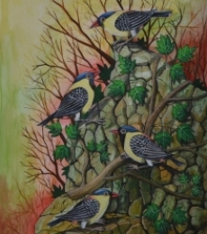 Animals Postercolor Art Painting title 'Birds 72' by artist Santosh Patil