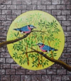 Animals Acrylic Art Painting title 'Birds Painting 105' by artist Santosh Patil