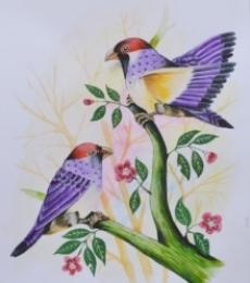 Animals Postercolor Art Painting title 'Birds Painting 21' by artist Santosh Patil