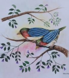 Animals Postercolor Art Painting title 'Birds Painting 23' by artist Santosh Patil