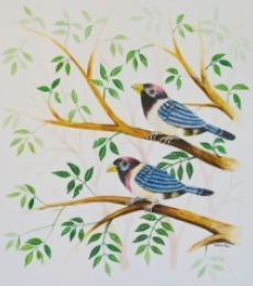 Animals Postercolor Art Painting title 'Birds Painting 27' by artist -