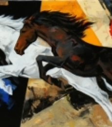 Animals Acrylic Art Painting title 'Horse 120' by artist Devidas Dharmadhikari