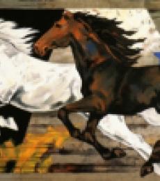 Animals Acrylic Art Painting title Galloping Horses by artist Devidas Dharmadhikari
