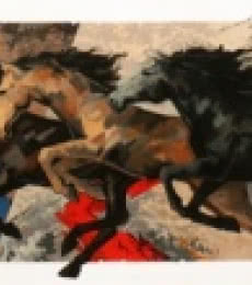 Animals Acrylic Art Painting title 'Galloping Horses 1' by artist Devidas Dharmadhikari