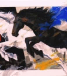 Animals Acrylic Art Painting title 'Horses Charging Forward' by artist Devidas Dharmadhikari