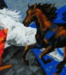 Animals Acrylic Art Painting title 'Running Horses 1' by artist Devidas Dharmadhikari