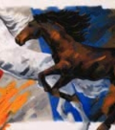 Animals Acrylic Art Painting title 'Running Horses 2' by artist Devidas Dharmadhikari