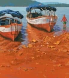Back To Boats At Bamnoli | Painting by artist Abhijit Jadhav | acrylic | Canvas