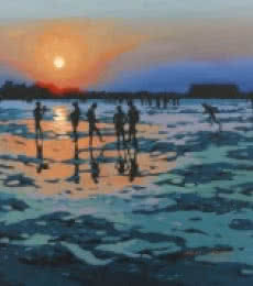 Landscape Acrylic Art Painting title Evening At Albaag Beach by artist Abhijit Jadhav