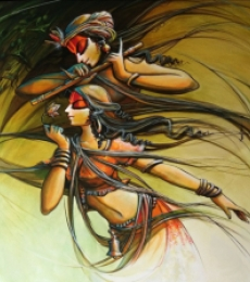 Religious Acrylic Art Painting title 'Radha krishna 4' by artist Manoj Das