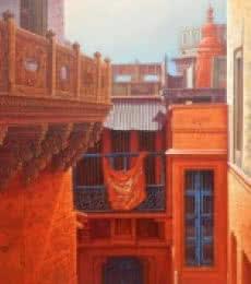 Cityscape Acrylic Art Painting title 'Banaras' by artist Anil Yadav
