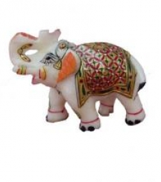 Saluting Painted Elephant | Craft by artist Ecraft India | Marble