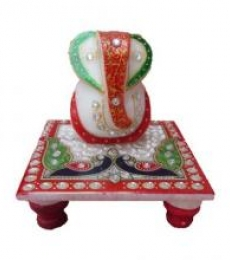 Lord Ganesha With Peacock On Chow | Craft by artist Ecraft India | Marble
