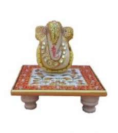 Ganesha On Floral Chowki | Craft by artist Ecraft India | Marble