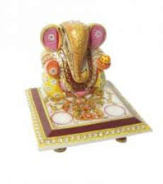 Ganesha On Chowki 1 | Craft by artist Ecraft India | Marble