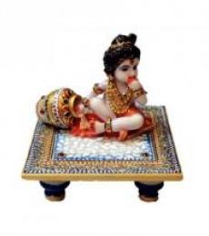 Laddu Gopal On Blue Marble Chowki | Craft by artist Ecraft India | Marble