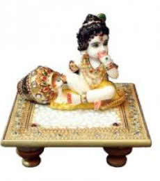 Laddu Gopal On Golden Marble Chowki | Craft by artist Ecraft India | Marble
