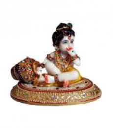 Ecraft India | Laddu Gopal Eating Makhan Craft Craft by artist Ecraft India | Indian Handicraft | ArtZolo.com