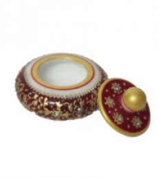 Red Round Sindoor Holder | Craft by artist Ecraft India | Marble