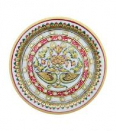 Floral Decorative Plate | Craft by artist Ecraft India | Marble