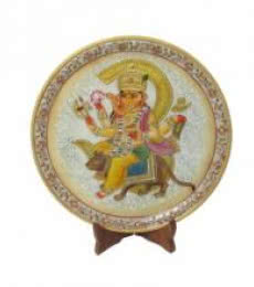 Ganesh Rat Marble Plate | Craft by artist Ecraft India | Marble