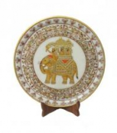 Ecraft India | Elephant Marble Plate Craft Craft by artist Ecraft India | Indian Handicraft | ArtZolo.com