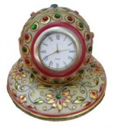 Gold Painted Marble Table Watch | Craft by artist Ecraft India | Marble