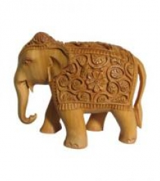 Hand Carved Elephant | Craft by artist Ecraft India | wood