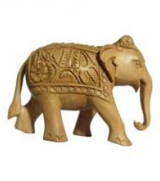 Carved Elephant | Craft by artist Ecraft India | wood