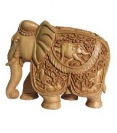 Elephant With Trunk Down | Craft by artist Ecraft India | wood
