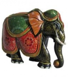 Wooden Painted Elephant Statue   Craft by artist Ecraft India   wood