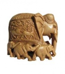 Ecraft India | Wooden Carved Family Elephant (Seven) Craft Craft by artist Ecraft India | Indian Handicraft | ArtZolo.com