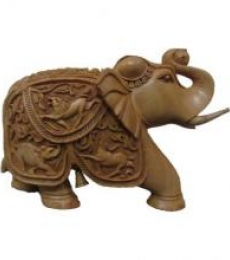 Elephant With Trunk Up | Craft by artist Ecraft India | wood
