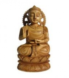 Lord Buddha Sitting Sculpture | Craft by artist Ecraft India | wood