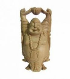 Standing Laughing Buddha   Craft by artist Ecraft India   wood