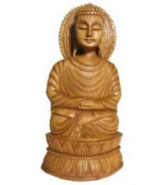 Lord Buddha Sitting On Pulpit | Craft by artist Ecraft India | wood
