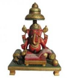 Lord Ganesha Writing Book | Craft by artist Ecraft India | wood