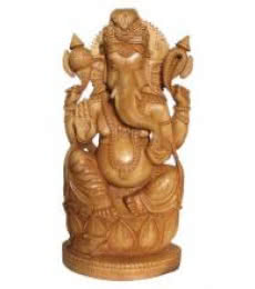 Lord Ganesha On Lotus | Craft by artist Ecraft India | wood