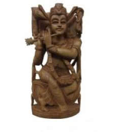 Lord Krishna Playing Flute Sitting | Craft by artist Ecraft India | wood