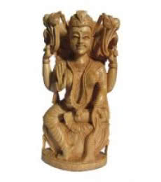 Goddess Lakshmi Sitting On Lotus | Craft by artist Ecraft India | wood