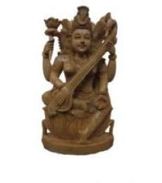 Goddess Saraswati Playing Sitar O | Craft by artist Ecraft India | wood