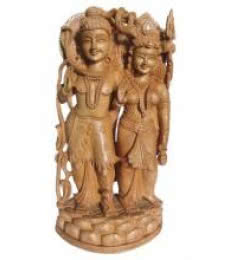 Lord Shiva With Parvati | Craft by artist Ecraft India | wood