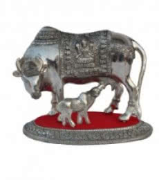 E Craft | White Metal Cow with Calf statue Craft Craft by artist E Craft | Indian Handicraft | ArtZolo.com