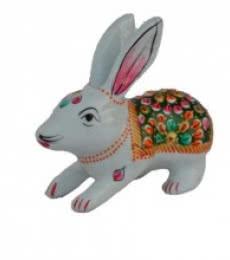 Meenakari Rabbit Figurine | Craft by artist E Craft | Metal