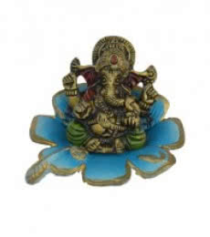 Metal Ganesha Statue on Sky Blue Leaf | Craft by artist E Craft | Metal